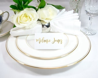 Modern Calligraphy Gold Foil Wedding Place / Name Cards Handmade