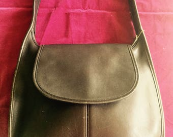 Pristine 1990s Brown Leather Coach Shoulder Bag Made In The United States