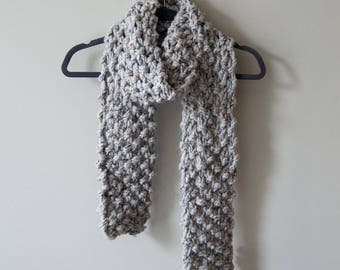 SALE Woolen Brioche Winter Scarf in Earl Grey