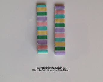 Pastel | Hair Clips for Girls | Toddler Barrette | Kids Hair Accessories | Grosgrain Ribbon | No Slip Grip