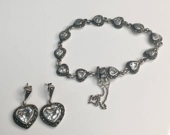 Sterling silver heart bracelet and matching earrings, Vintage silver bracelet and earrings