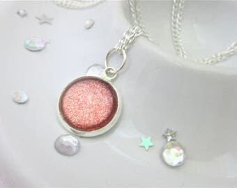 Copper Metallic Round Glitter Nail Polish Cabochon Necklace on 18 Inch Silver Plated Chain, Tiny Silver Sparkles, Lovely Gift, Ladies Gift,