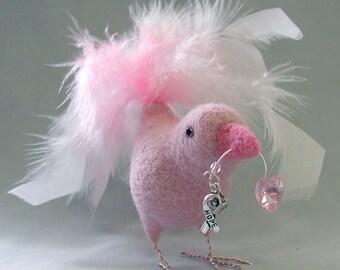Birds of Whimsy - Powder Pink - OOAK Needle Felted Bird