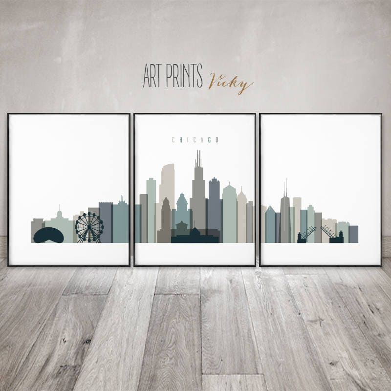 Chicago Wall Art Prints, Chicago Skyline Set Of 3 Prints, Chicago Posters  Set, Large Wall Art, Travel Gift, Home Decor, ArtPrintsVicky