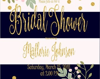 Navy and White Floral Bridal Shower Invitation