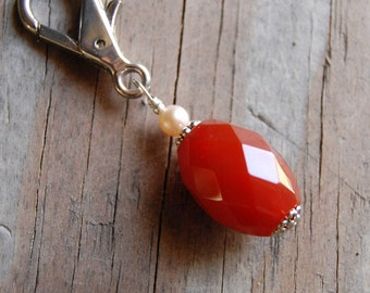 Gemstone Key Charm Genuine Carnelian with Natural Pearl
