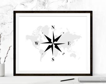 Wanderlust Compass Print, Inspirational Poster Art, Typography Print, Motivational Print, Wall Print, Minimalist Art Print, Wanderlust Art