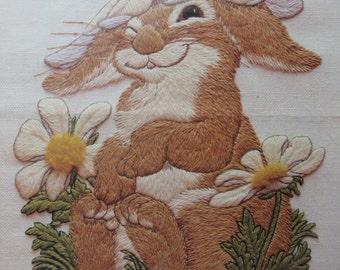 Vintage Current Crewel Kit, Bunny's Bonnet, 1982, Daisy Flower