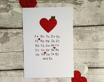Alphabet Typography Print, Nursery Print, Teacher Gift, Classroom Decor, Thank You Teacher, End of Year Gift, End of Term Gift