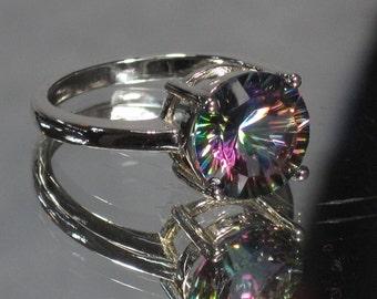 Vintage Sterling Silver Mystic Topaz Ring Sz 7 M5