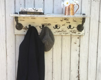 Pipe shelf with hooks | Wall shelf | Entryway pipe shelf | Industrial pipe shelf | Rustic wall shelf | Coat rack