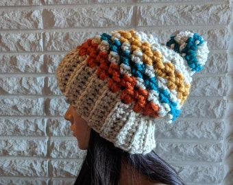 Women's chunky pom pom hat, women's winter hat, chunky winter beanie, women's accessories, gifts for her, fall, winter and spring fashion