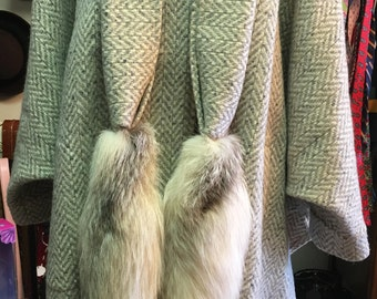1970s 100% Wool Coat/Cape by Dina Colby with Gray and Beige Tweed with Fox Tails Scarf