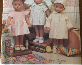 Vogue vintage clothing, Vogue doll clothes pattern, Teresa Layman designs, dress with smocking and pleats, dress with tucks. Coat and hat