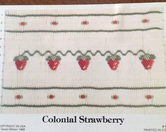 Colonial Strawberry smocking plate, vintage smocking plate