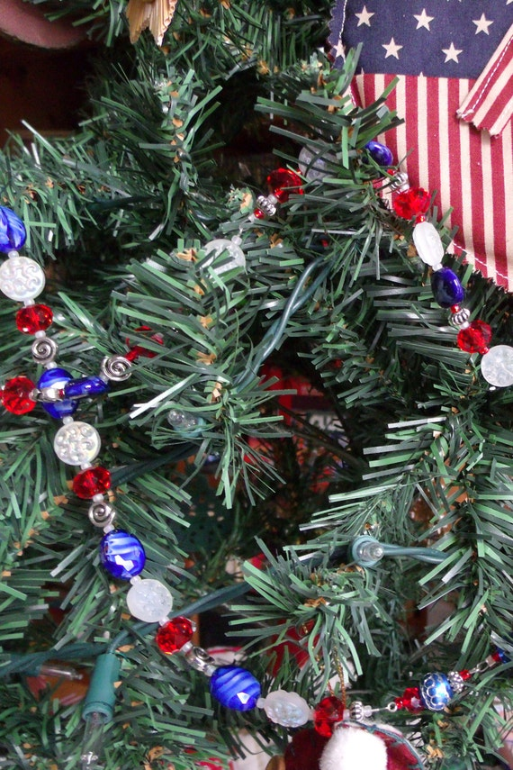 Red blue tree crystal garland - new England sport team - football  - patriotic design - gift- farmhouse decor - beaded Texas colors -