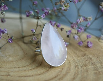 Rose Quartz Ring, Sterling Silver Ring, Boho Ring, Size 7 ring, Handmade Jewelry, Gemstone Ring, Quartz Jewelry, Gift for women, Pink ring
