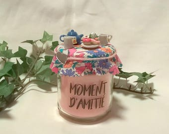 "Rose candle ""Friendship time"" tea, blue and pink liberty"