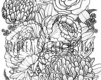 Floral Print - B&W Print Floral Illustration