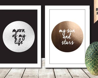 A4 Set of 2 Game Of Thrones Print Daenerys Targaryen Khal Drogo - Game of Thrones Art My Sun And Stars Moon Of My Life Game of Thrones Gifts