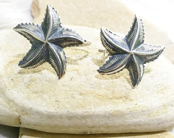 Seastar earrings made with silver 950