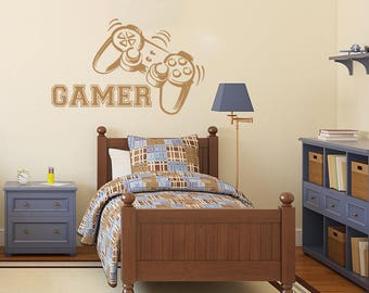 Gamer Wall Decal Game Controllers Gaming Vinyl Sticker Decals Video Game  Boy Room Decor Bedroom Men