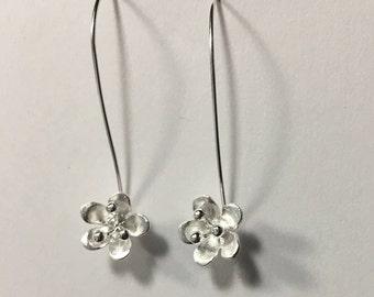Sterling Silver Matte Flower Earrings