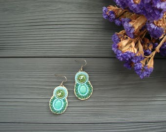 Beaded earrings Embroidery earrings Elegant earrings Bohemian earrings Green earrings Statement trending earrings Beadwork earrings
