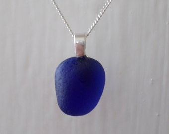 Cobalt Blue Sea Glass Necklace, Seaglass, Beach Glass, Sterling Silver, Beach Jewelry, Navy, Sea Glass Pendant, Seaham, Seaglass Pendant