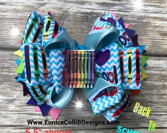 colorful crayon hair bow