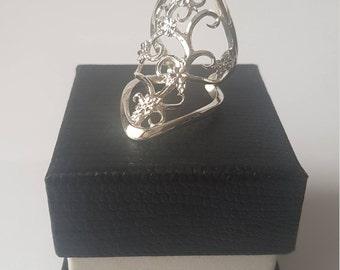 Floral Filigree Vine Ring -  Solid Sterling Silver - Adjustable Full Finger/Knuckle Ring