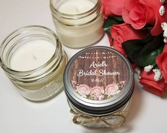 12 - 4 oz Personalized Bridal Shower Candles - Bridal Shower Favors - Soy Candle Favors - Candle for Guests  - Bridal Shower Prizes - Gifts