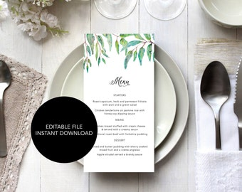 Printable Wedding Menu / Wedding Menu Template / Greenery Wedding Menus / Editable Menu template / Eucalyptus Leaves Menu / Reception Menu