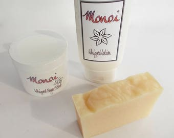 Monoi Gift Set - Monoi Whipped Sugar Scrub, Whipped Body Lotion - Artisan Cold Process Soap, Tiare, Gardenia Scent - Monoi Oil, Gift for Her