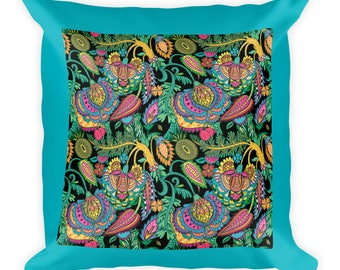 Teal Paisley Throw Pillow, Couch Pillow, Bed Pillow, Square Pillow, Throw  Pillow
