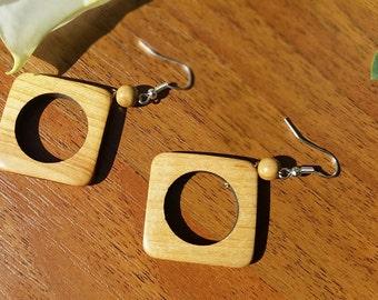 Natural Wooden Earrings, Wood Earrings - Geometric Earrings, Brown Earrings