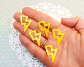 5pc Neon Yellow Lightning Bolt 27mm Kawaii Resin Flatback Cabochon Scrapbook Decoden Craft DIY
