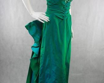 Green Sequin Taffeta Mermaid Ruffly Prom Dress 80's 90's |4 5 Strapless Sweet Heart Neckline | Ruffly Back with Train | Ariel Princess Dress