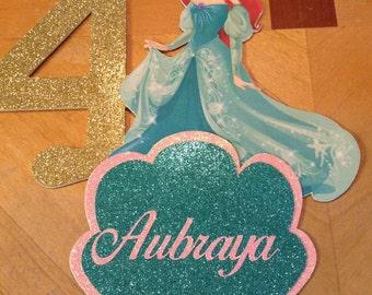 Princess Little Mermaid Glitter Cake Topper