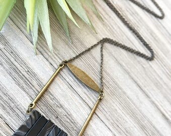 Black Agate Pendant Necklace // Long Necklace // Natural Stone Necklace // Boho Necklace // Modern Necklace // Gift for Her // Unique