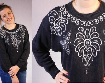 Vintage Beaded Sweater Damask Pattern Sweater Pearl Beaded Sweater 70s Vintage Sweater Pearl Accented Sweater Ugly Christmas Sweater