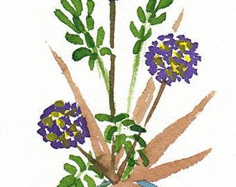 ACEO Original Ikebana Watercolor painting,original watercolor of flowers,Flowers in Vase,Ikebana,floral art,Original Aceo,Small Floral Art