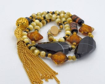 Czech Glass Beads with Stone, Gold Tassel, Black Onyx, Vintage beads necklace, Venetian Glass Beads, 30 inches plus 5 1/2 inch tassel drop