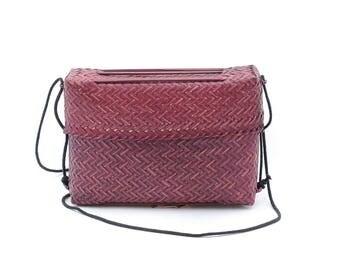 maroon woven straw purse | boho eggplant handbag | wicker raffia sisal weave crossbody bag | festival shoulder bag | basket purse