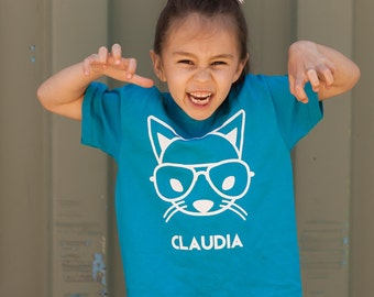 Cat with glasses shirt, nerd cat, cat shirt, kids cat, kids shirt, hipster kid shirt, personalized shirt, cat name shirt, personalized cat