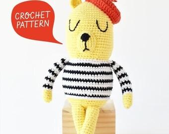 Monsieur Bear Crochet Pattern   Tiny Curl Amigurumi Pattern, Crochet Doll Pattern, Bear Amigurumi Pattern, Crochet Bear Pattern