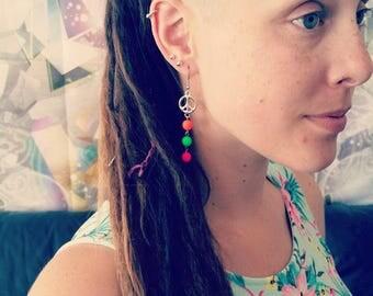 Peace Earrings, Neon Earrings, Dangle Earrings