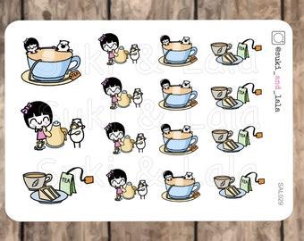 TEA Planner Stickers, Tea Party Planner Stickers, HOT TEA Stickers, Tea Cup Stickers, Planner stickers (SAL029)