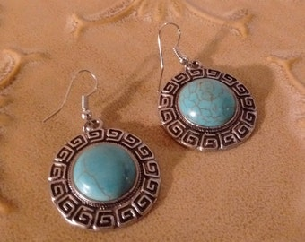 Turquoise and Silver Southwestern Style Earrings Pierced/Price Reduced