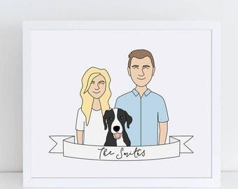 Custom Couple Portrait, Custom Family Portrait, Custom Illustration, 1/2 body portrait